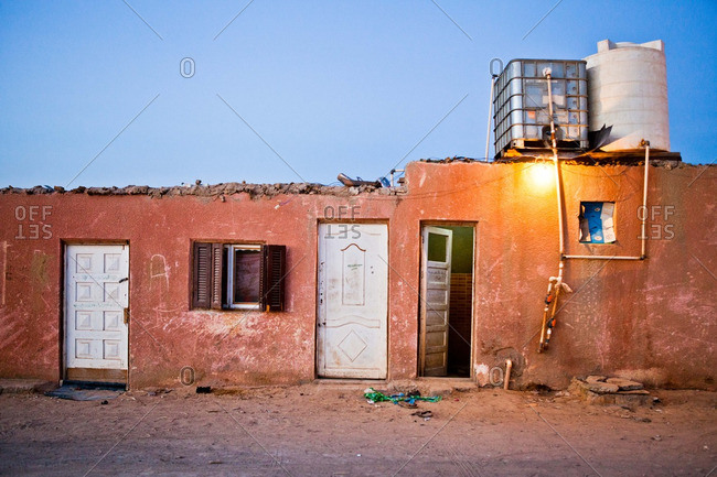 A home in Egypt's Western Desert at dusk