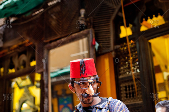 A toy seller in Khan el-Khalil market of Cairo, Egypt