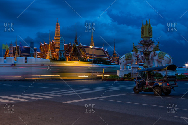 A tuk-tuk by the Grand Palace in Bangkok, Thailand