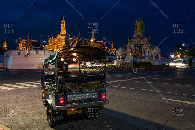 Bangkok, Thailand - July 14, 2016: A tuk-tuk by the Grand Palace in Bangkok, Thailand