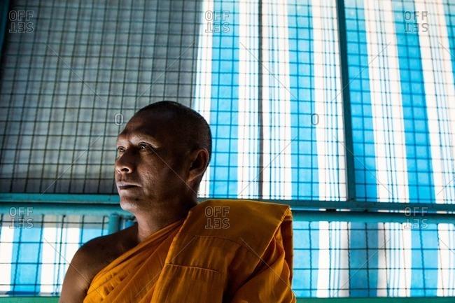Ang Thong, Thailand - January 14, 2015: A monk in Ang Thong, Thailand