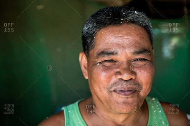 Ang Thong, Thailand - January 14, 2015: A Thai woodworker