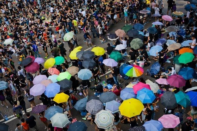Hong Kong, China - October 1, 2014: Protestors at the Hong Kong's 2014 Umbrella Revolution