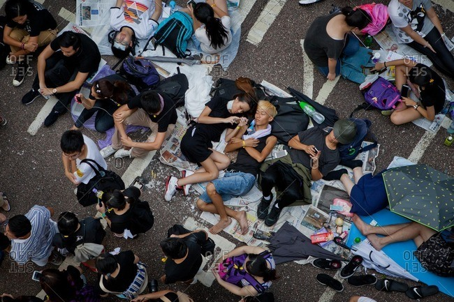 Hong Kong, China - October 1, 2014: Protestors during the Hong Kong's 2014 Umbrella Revolution