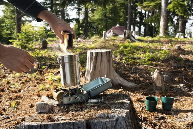 Cropped image of man pouring food in container over camping stove in forest