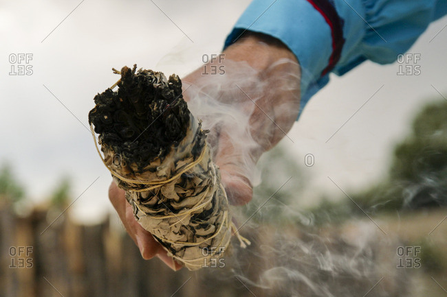 Burning of smudge stick