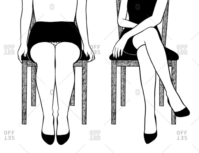 Women in skirts sitting