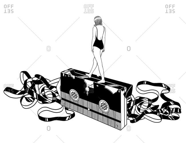 Woman walking on video tape