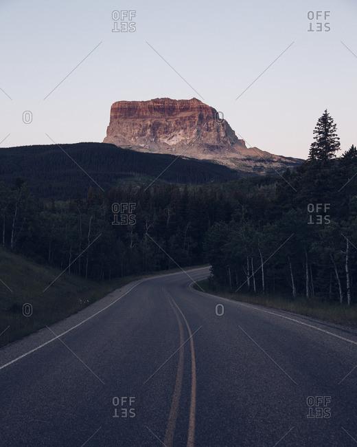 Two lane mountain valley road
