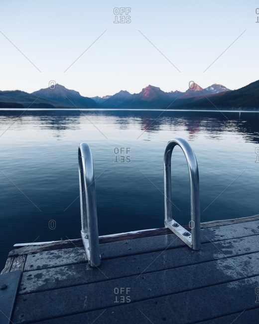 Dock with ladder at mountain lake