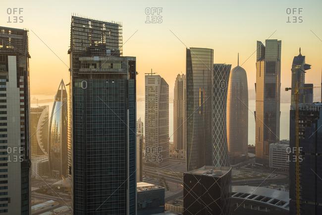 The modern buildings of the Doha skyline, Qatar