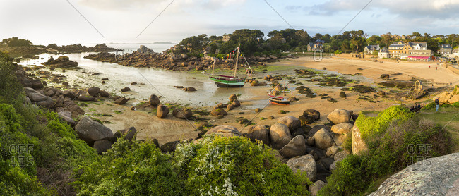 5/13/15: Sailboats at beach in Ploumanac'h,  Brittany, France