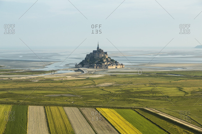 Aerial view of the fields near Mont Saint Michel, Normandy, France