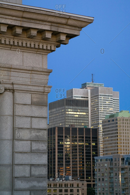 Bank of Montreal building, and Modern office buildings at dawn, Montreal, Quebec, Canada