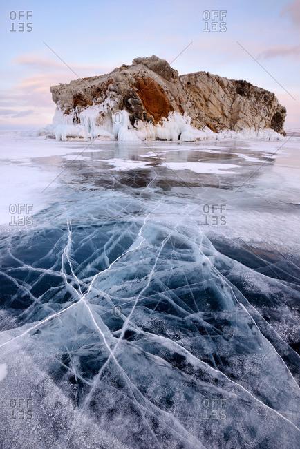 Borga-Dagan Island and frozen ice, Baikal Lake, Olkhon Island, Siberia, Russia