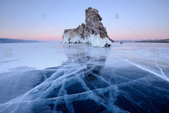 Ice and Ogoy Island, Baikal Lake, Olkhon Island, Siberia, Russia