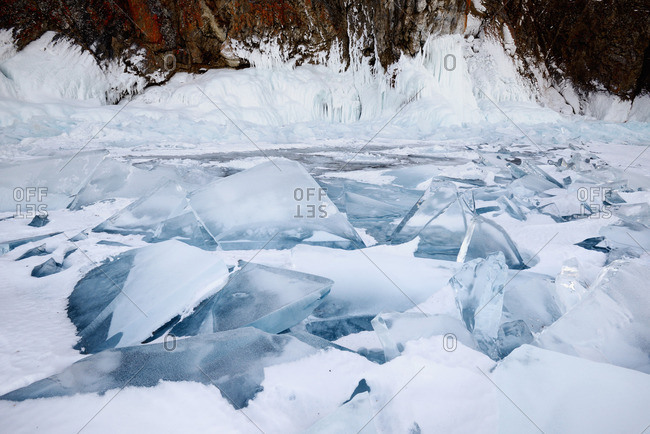 Broken ice and rock, Baikal Lake, Olkhon Island, Siberia, Russia
