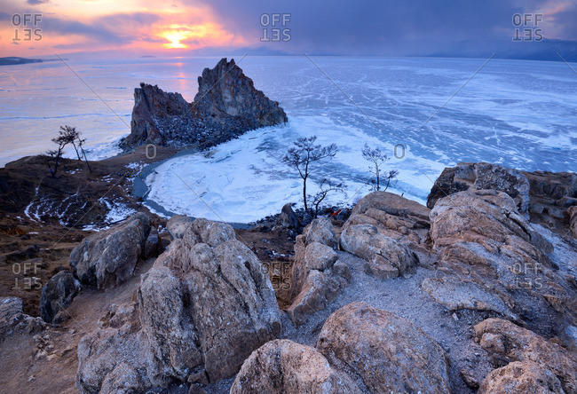 Shamanka Rock on Burkhan Cape at sunset, Baikal Lake, Olkhon Island, Siberia, Russia