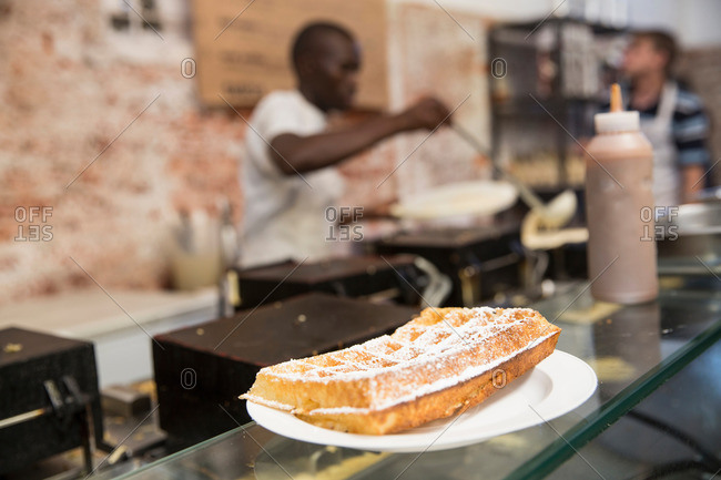 Waffle on cooperative food market stall