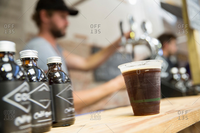 Cold brew coffee on cooperative food market stall