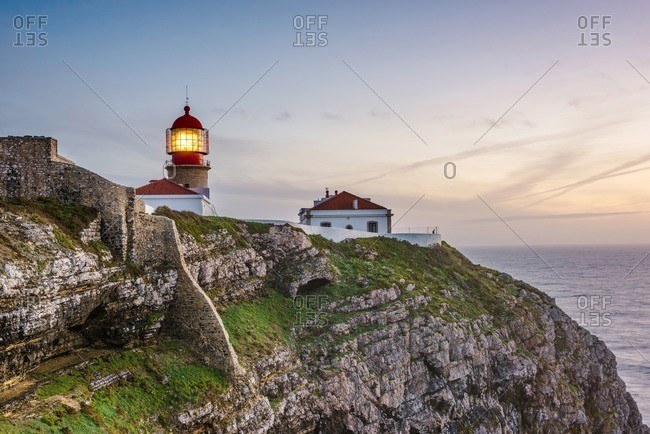 Lighthouse in southwestern Europe at sunset, Cape St. Vincent, Portugal