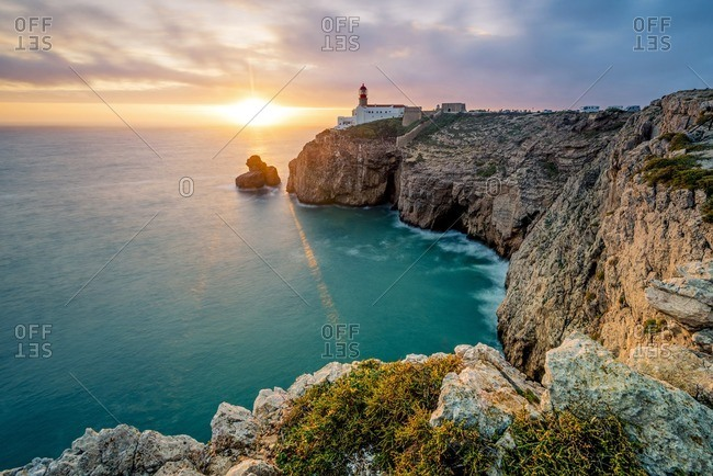 The southwestern most lighthouse in Europe at sunset, Cape St. Vincent, Portugal