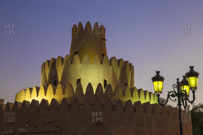 Abu Dhabi, United Arab Emirates - February 5, 2016: Al Ain Palace Museum with lamppost
