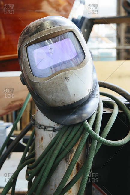 A welding mask in boatyard