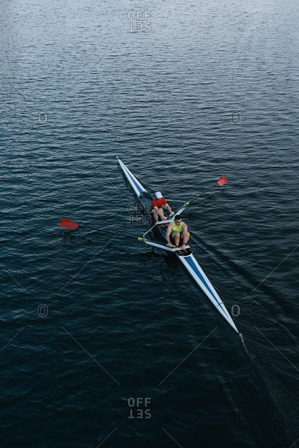 Boston, Massachusetts, 6/18/2015: Elevated view of two men sculling
