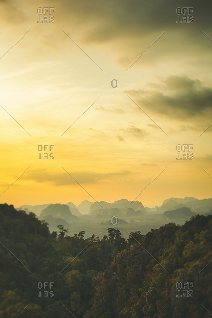 Thailand- view to the jungle at sunset