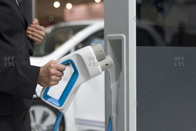 Electric vehicle charging- close-up