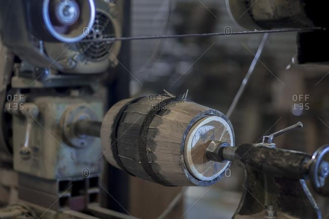 Wine barrel in machine