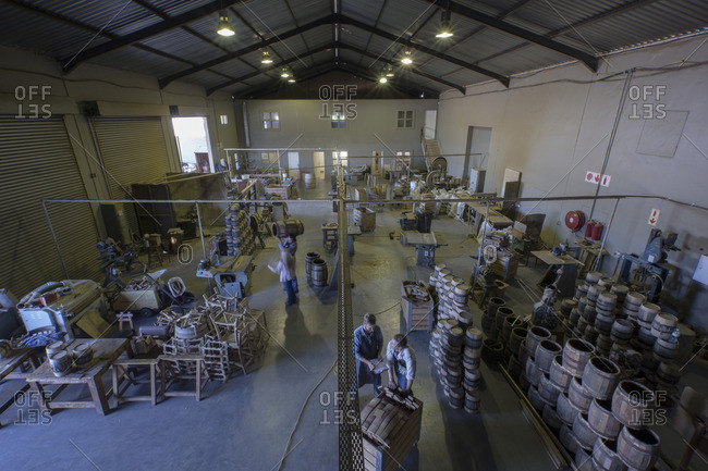 South Africa- Cape Town- coopers and wine barrels in cooperage