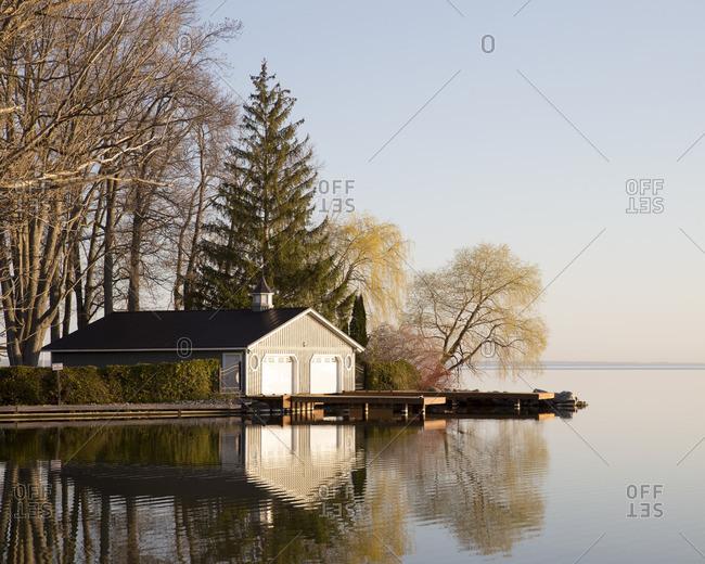 A boat house on Lake Simcoe, Ontario, Canada, Spring 2016