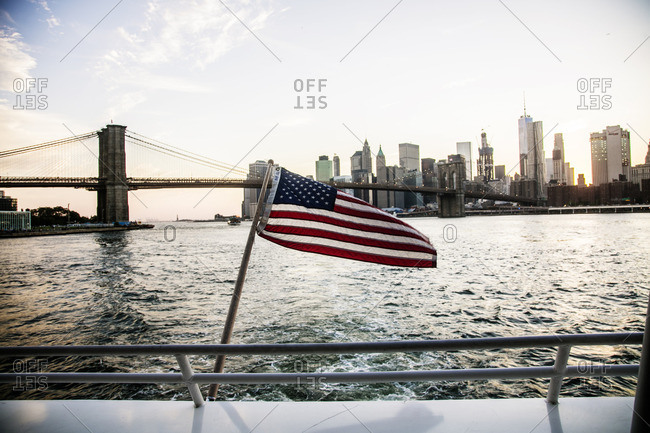 Flag in front of Manhattan view