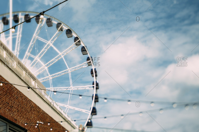 Low angle view of a Ferris wheel at a carnival