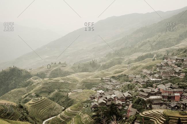 Terraced fields and hillside village