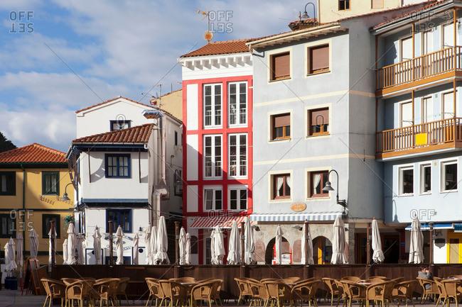 Cudillero, Spain - April 12, 2013: Ornate buildings on city street