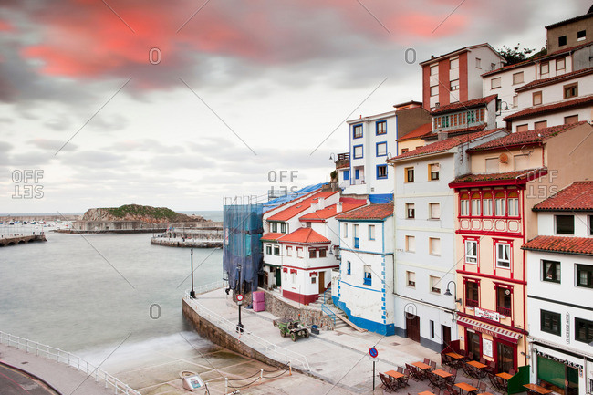 Cudillero, Spain - April 12, 2013: Ornate buildings at coastal city