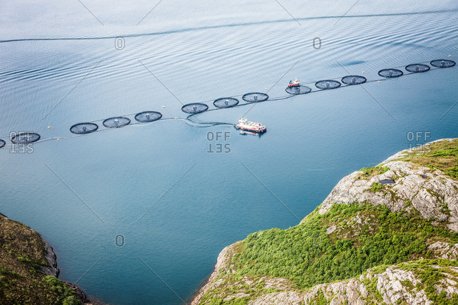 Aerial view of an offshore fish farm