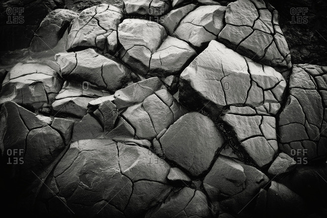 Close up of cracks in rock formations