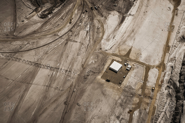 Above view of strip coal mining field
