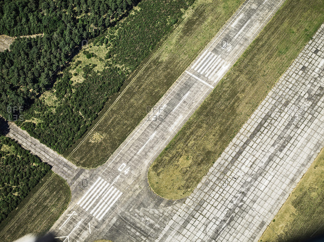 Aerial view of airplane runway