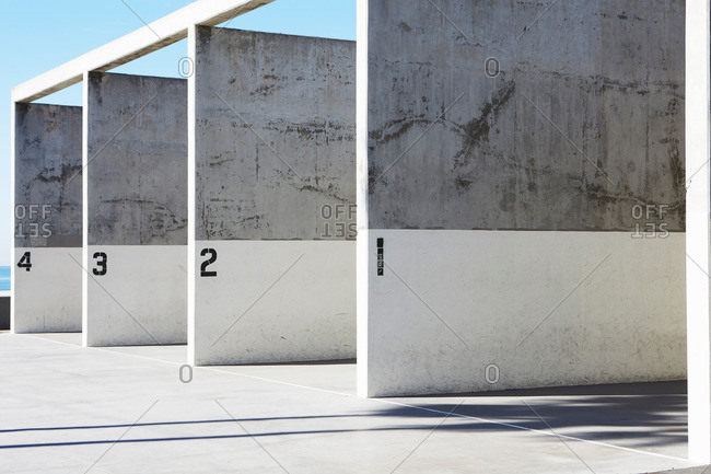 Labeled concrete walls