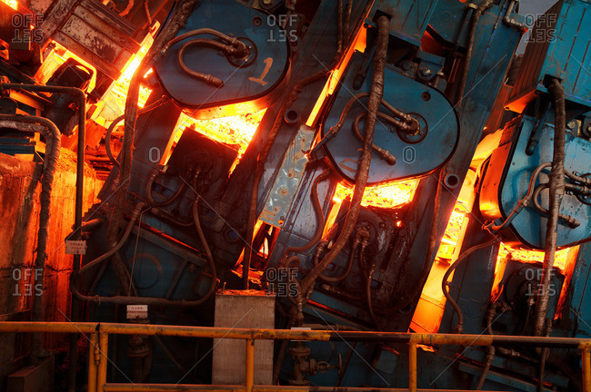 Machines at work in a steel manufacturing plant, Shanghai, China