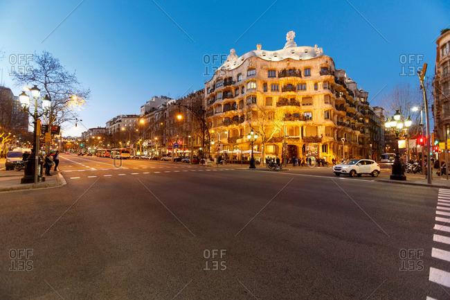 Barcelona, Spain - May 10, 2013: Casa Mila at dusk
