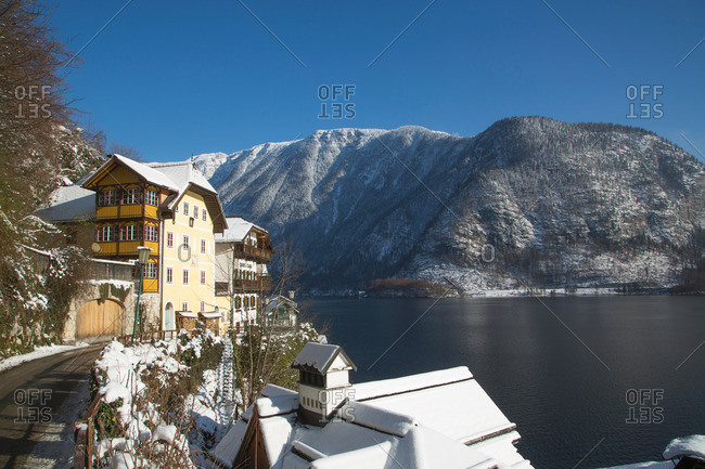 Hallstatt, Austria - May 10, 2013: Buildings and lake