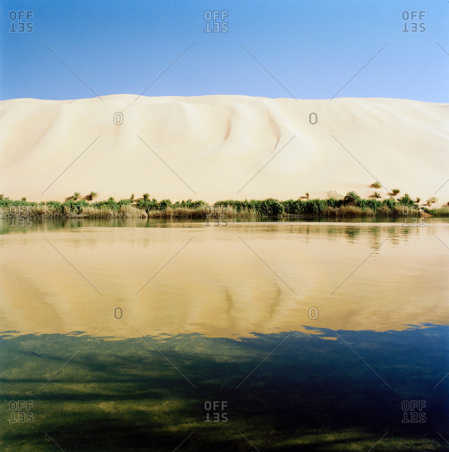 Gebraoun Lake, part of the Ubari lakes, Sahara Desert, Libya