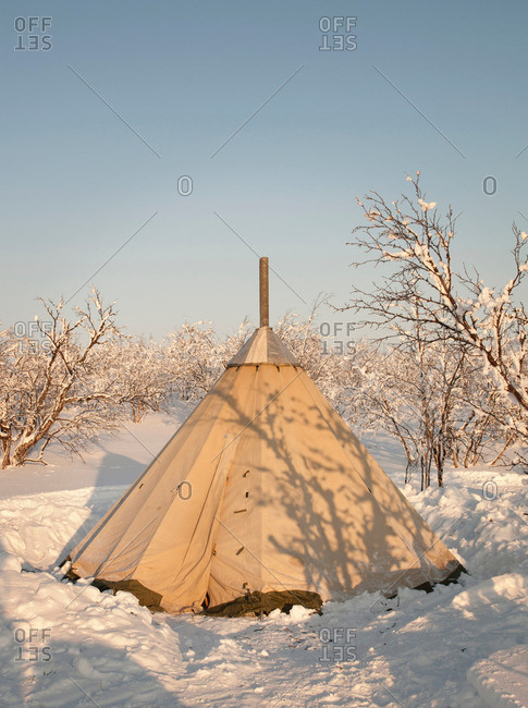 A lavvu, a traditional temporary Sami tent, in the countryside at Karasjok, Finnmark region, northern Norway