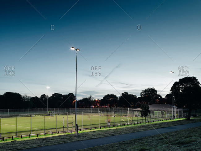Soccer field at dusk, Manchester, England